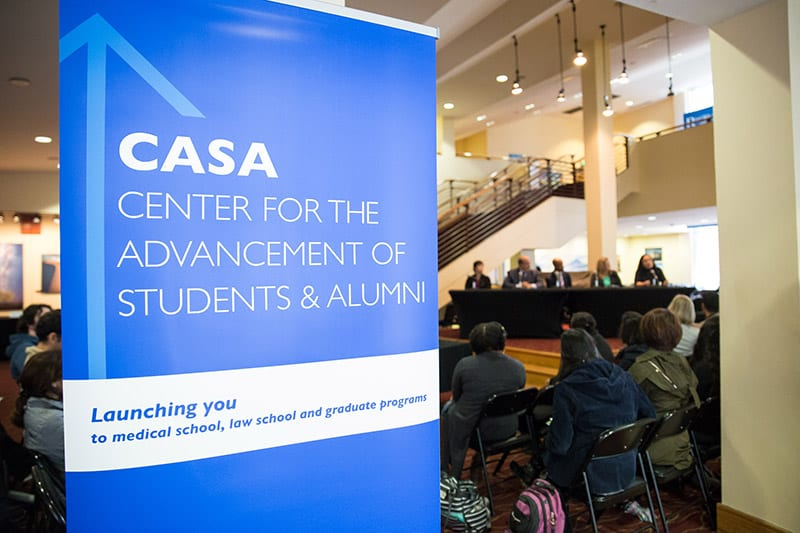 The Center for the Advancement of Students & Alumni works to support and launch undergraduate students into graduate and professional programs. Lobby of The Rialto, Georgia State University.